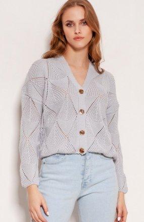 Ażurowy sweter na guziki szary SWE143