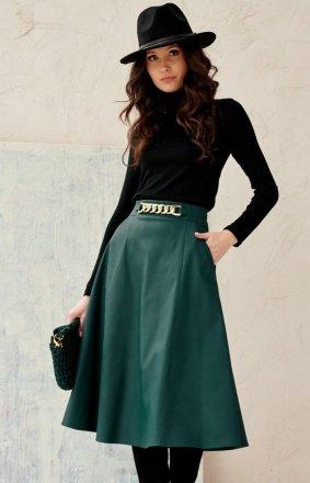 Midi spódnica damska z kieszeniami zielona 0040