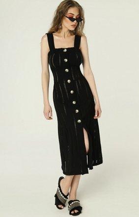 Czarna sukienka z guzikami na lato Federica