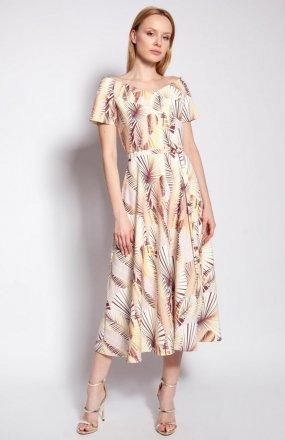 Sukienka z odkrytymi ramionami abstrakcyjne liście SUK182