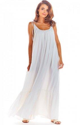 Zwiewna biała sukienka maxi A307