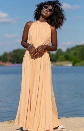 Efektowna sukienka maxi piaskowa F1251