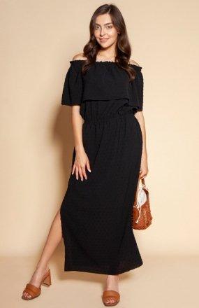 Długa sukienka hiszpanka z rozcięciem czarna SUK200