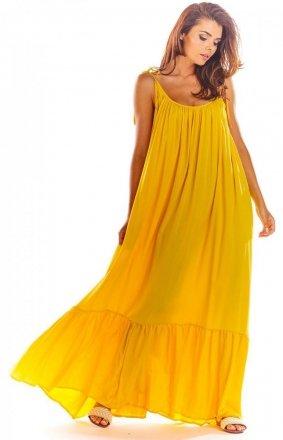 Zwiewna żółta sukienka maxi A307