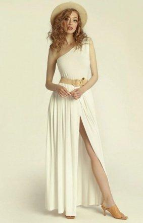 Długa sukienka na jedno ramię Erin ecru
