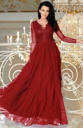 Bicotone 2167-10 sukienka bordowa