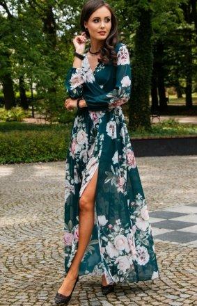 Stylowa sukienka maxi w kwiaty 0219/D45