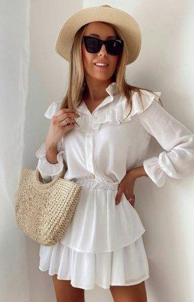 Biały letni komplet damski koszula i spódniczka