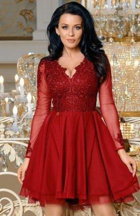 Bicotone 2160-10 sukienka rozkloszowana bordowa
