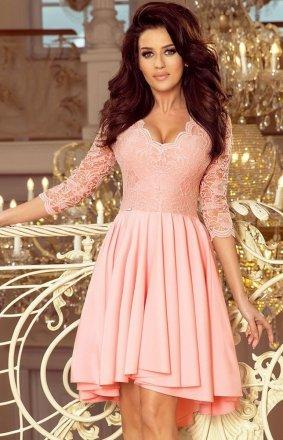 Pastelowa sukienka wieczorowa z koronką Numoco 210-7