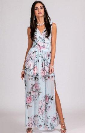 Szyfonowa długa sukienka letnia w kwiaty D22
