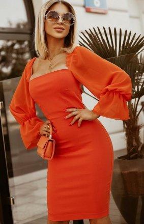 Kobieca dopasowana sukienka pomarańcz 2224-07
