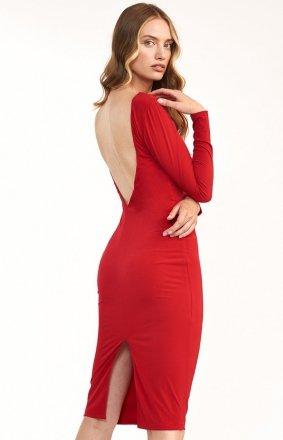 Elegancka czerwona ołówkowa sukienka