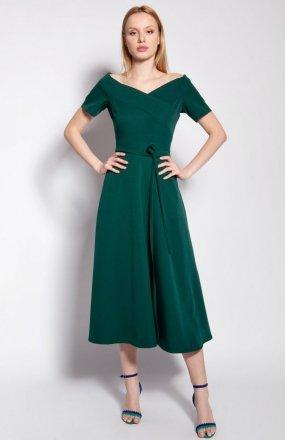 Sukienka trapezowa midi zielona SUK181