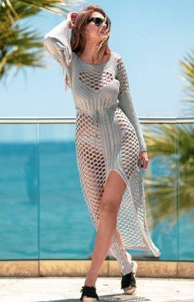 Sukienka plażowa szara F732