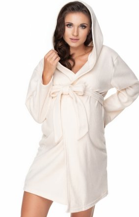 Kremowy ciążowy szlafrok polar 0148