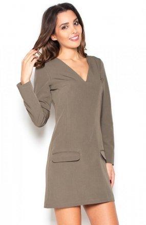 Katrus K373 sukienka oliwkowa