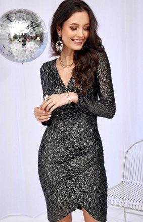 Wieczorowa sukienka cekinowa grafitowa 0265