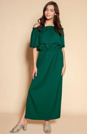 Długa sukienka hiszpanka z rozcięciem zielona SUK200