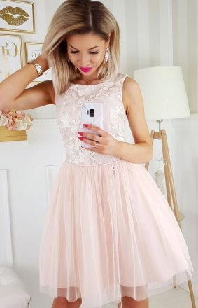 *Bicotone sukienka z koronką beżowa 2179-21