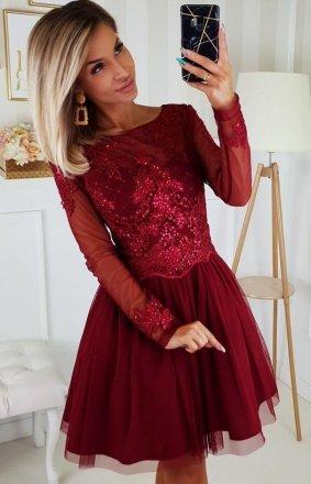Bordowa sukienka z tiulową spódnicą 2194-10