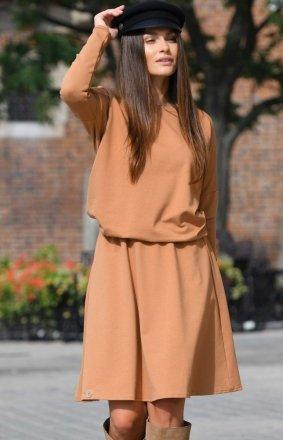 Bawełniana sukienka karmelowa L347