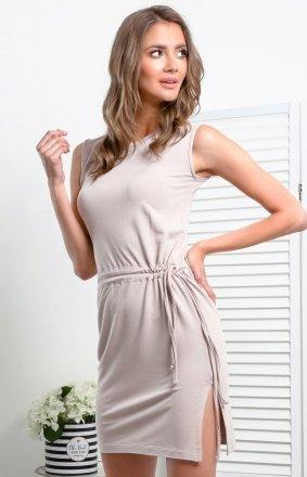 Prosta dzianinowa sukienka mocca I337