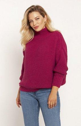 MKM SWE246 żebrowany sweter z golfem amarantowy
