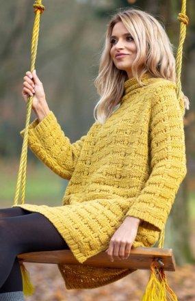 Fobya F599 sukienka sweterkowa musztardowy