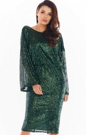 Cekinowa sukienka midi zielona A402