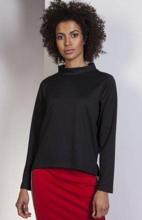 Bluza z dłuższym tyłem czarna BLU139