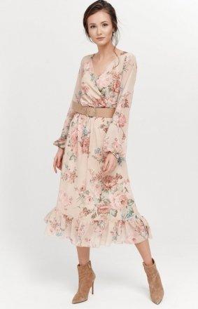 Sukienka midi z falbaną w kwiaty 0241/R09