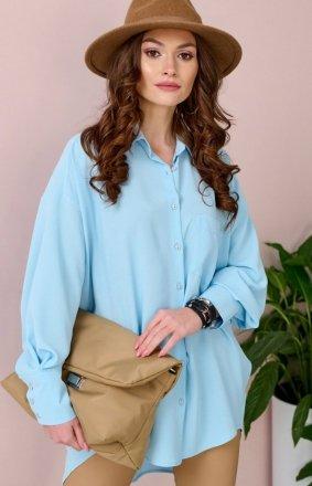 Oversizowa koszula damska 0107 błękitna