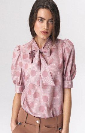 Elegancka różowa bluzka z kokardą b111