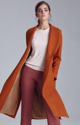 Jednorzędowy miodowy płaszcz Nife PL07MI