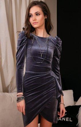 Wieczorowa szara sukienka z bufkami 270