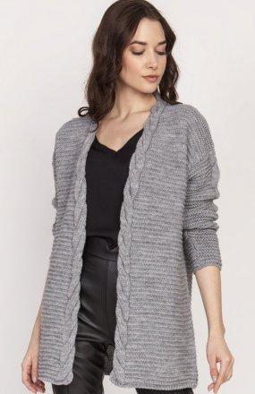Ciepły sweter kardigan szary SWE127