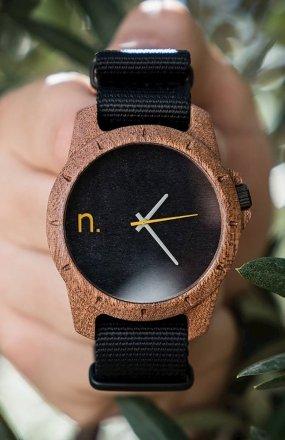 Neat Sport sapelli zegarek drewniany męski czarny