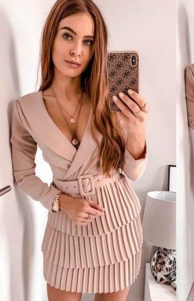 Kopertowa sukienka z plisowaniem beżowa