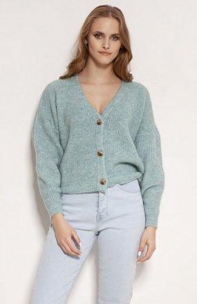 MKM SWE236 rozpinany sweter miętowy