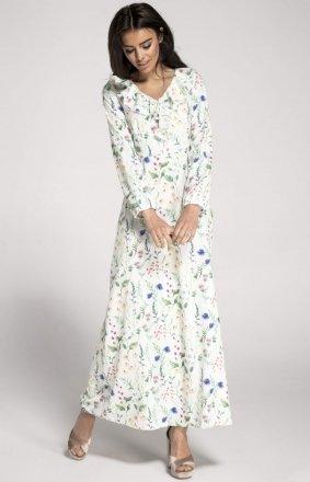 Dzianinowa sukienka maxi biała w kwiaty NA1007