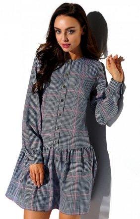 *Koszulowa sukienka w kratę L311