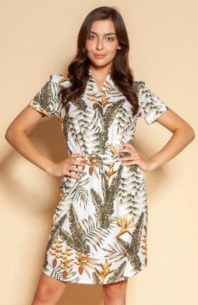 Sukienka z troczkiem i krótkim rękawem ecru SUK196
