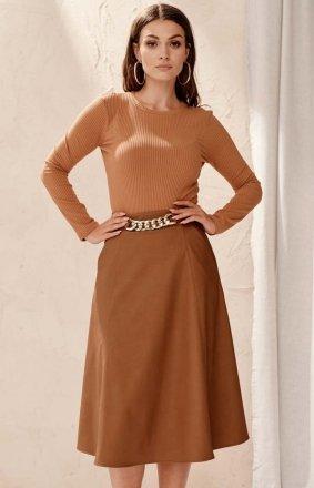Midi spódnica damska z kieszeniami karmelowa 0040