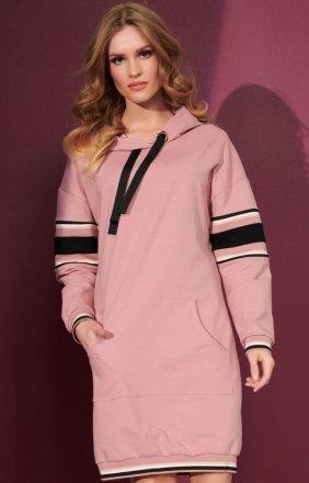 Sportowa sukienka z kapturem różowa NU280