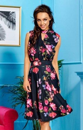 Kwiatowa sukienka do kolan czarny wzór L306