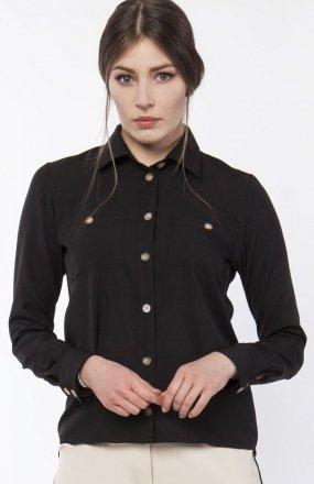 Koszula damska z dłuższym tyłem czarna K113