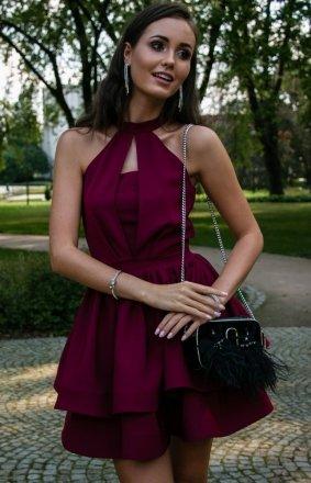 Rozkloszowana sukienka z falbanami 0202
