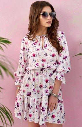 Kwiatowa sukienka z wiązaniem 0325/S87