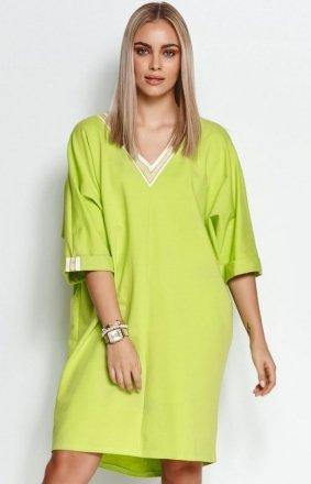 Oversizowa dresowa sukienka limonka M626
